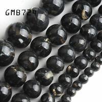 Black shell howlite stone round Loose beads jewelry making 15'' 4/6/8/10/12mm