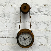 Industrial Antique Rustic Metal Roman Numerals Wall Mounted Factory Clock Large