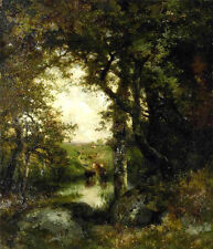 Large Oil painting Thomas Moran - Pool in the Forest, Long Island cows landscape