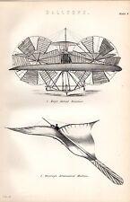 1880 Imprimé ~ Ballons MOY'S Antenne Vapeur ~ BREAREY'S Aéronautique Machine