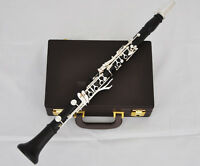 Professional Grenadilla Africa Black Wood Wooden Clarinet 18 Key Silver New Case