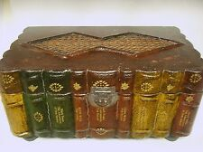 Used Old World Book Motif 10 x 17 Lined Storage chest good condition