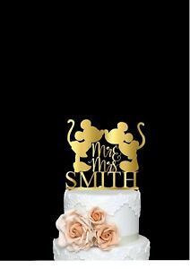 Mickey & Minnie Cake Topper Wedding Cake Topper Personalize Cake Topper