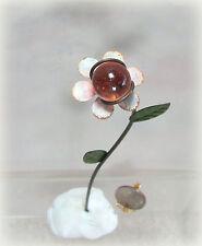 Dollhouse Miniature or Fairy Garden Pink Flower Gazing Ball Pick