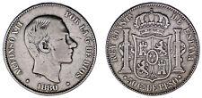 50 CENTS/50 CENTAVOS PESO. Ag. ALFONSO XII. FILIPINAS 1880. VF/MBC. RARE - RARA.
