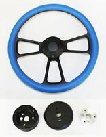 Mercury Cougar Comet Cyclone Steering Wheel Sky Blue Grip on Black Spokes 14""