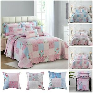 3 Piece Quilted Patchwork Bedspread Throw Single Double King & Super King Sizes