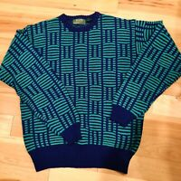 Vintage Slouch Geometric Sweater 80s 90s Vsco Oversized Abstract