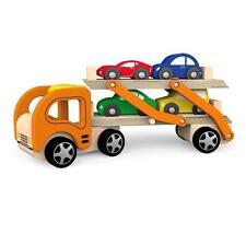 VIGA Childrens Wooden Car Carrier/car TRANSPORTER Including 4 Cars
