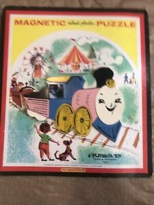 Vintage Playskool Magnetic Inlaid Plastic Train 13 Piece Puzzle #6580A
