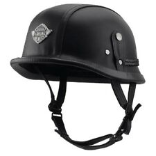 BK Harley Motorcycle PU Leather Half Helmet Open Face Fit For 22.5-24.5'' M/L/XL