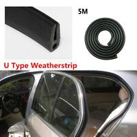 5m U Type Black Rubber Sound-proof Sealing Strip For Car Door Window Engine Hood