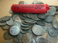 1943 Steel Lincoln  Wheat Penny Roll  Mixed    lot 4350
