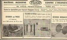PARIS STE FULGOR MATERIEL CONTRE INCENDIE SAPEURS-POMPIERS PUBLICITE 1955