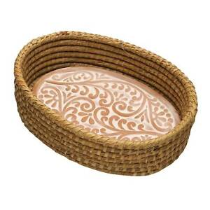 Serrv Terra Cotta Bread Warmer - Vine Pattern with Woven Bread Basket Fair Trade