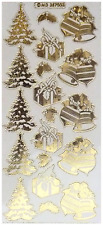 EMBOSSED CHRISTMAS TREES BELLS GIFT Peel Off Stickers Gold Silver Clear Sticker