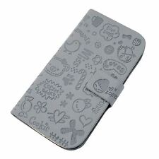 Cute Grey Magnetic Wallet Flip Case Pattern Cover for Samsung Galaxy S3