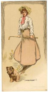 ORIGINAL Vintage 1905 LADY GOLFER & BULLDOG Golf Club LITHOGRAPH Dog Print