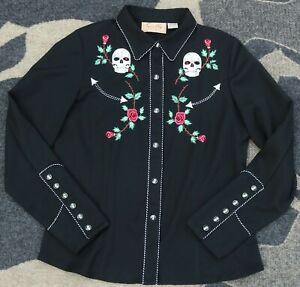 Scully Women's Skull & Roses Long Sleeve Western Snap Shirt M