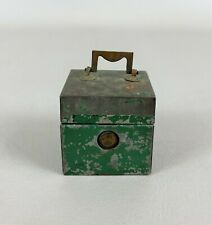 Antique Miniature Green Painted Tin Traveling Inkwell
