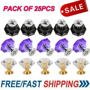25Pcs Diamond Crystal Dresser Knobs Drawer Pull Handle Cabinet Door Lots ELH