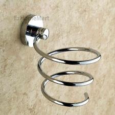 Fashion Bathroom Wall Hair Drier Holder Chrome Salon Spiral Blower Shelf Rack