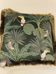"""Velvet Jungle Print Cushion With Filler Green 18 X 18"""" Luxurious Fringed Fabric"""