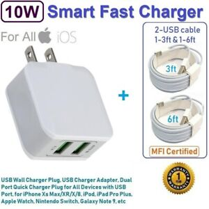 10W Double USB Wall Cube Charger with 3ft & 6ft USB cables for iPad Pro,Air,Mimi