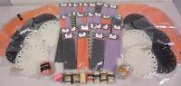 Huge 65 Piece Fall Craft Art Lot Burlap Dolly Paper Straws Ribbon Raffia Twine