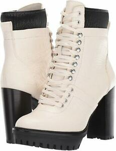 Vince Camuto Ermania Croco Embossed Leather Hiker Booties, Multi Sizes White/BLK