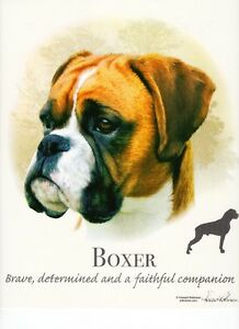 """BOXER (uncropped) DOG w Phrase on 18"""" x 22"""" Fabric Panel toSew. Pic is 10""""x10.5"""""""