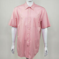Stafford Essentials Men's Pink Broadcloth Short Sleeve Classic Fit Button Up 17