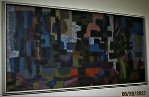 Roland C. Petersen Twilight Silhouettes Original Abstract 19x40 Oil Painting