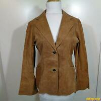 NEWPORT NEWS Jeanology Lambskin LEATHER Blazer Jacket Womens Size 4 Tan brown