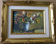 """Framed Oil Painting """"Floral-N10"""" 9x11 in."""