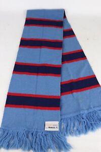 Vintage Remar Knitwear New Zealand Blue/Red Stripe Wool Nylon Blend Winter Scarf