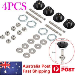 4PCS Bonnet Push Button Catch Quick Release Hood Pins Latch Lock Clip Protectors