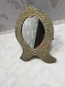 Rare Vintage Moroccan Arabian Middle Eastern Silver Plated Brass Ornate Mirror