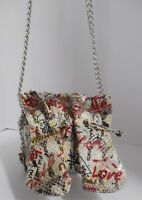 New Carlos Falchi Fatto O Mano Graffiti Python Print Faux Leather Crossbody Bag