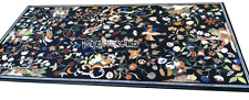 6'x3' Black Marble Corner Dining Table Top Pietradura Art Inlay Patio Art H2911A