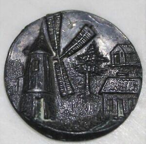 Wonderful Antique Windmill Button Set in Village Scene-99 CENT START