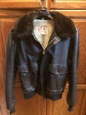 Vintage BOMBER JACKETBrown Mens Leather Fur Lined Biker Cycle Coat 44T XXL 2XL