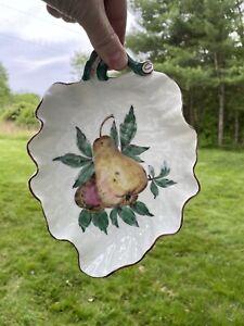 Vintage Early Mottahedeh Chelsea Porcelain Leaf Shaped Dish Botanical Fruit