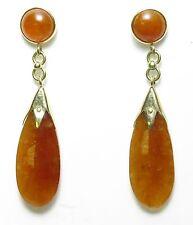 14K Yellow Gold Orange Jade Dangle Earrings
