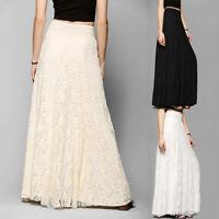 Women Skirt Maxi Lace Gypsy Boho Long Wedding Beach Dress Solid Party Casual UK