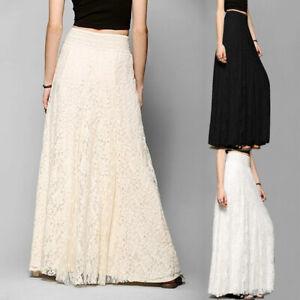 Women Skirt Lace Boho Maxi Long Pleated Wedding Beach Dress Solid Party S-XL AUS