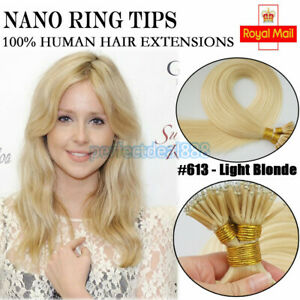 16inch 1G Nano Rings Tip Micro Remy Human Hair Extensions #613 Light Blonde 50s