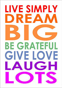 Live Simply Dream Big  Be Grateful Art Word Canvas Typography Inspiring Quote