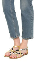 353f4b11326 DVF Diane von Furstenberg Snow Cheetah Gold Metallic Cannes Sandals  228 sz  8 38