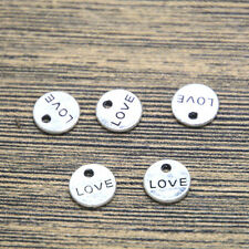50pcs love Charms Antiqued Silver Tone disc love charm pendants 9mm
